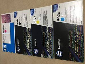 Brand new  HP cartridge 502A yellow 502A cyan 501A black Q6473A Rouse Hill The Hills District Preview
