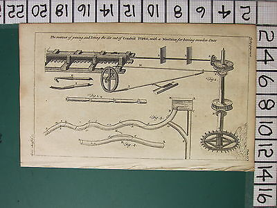 1754 ANTIQUE PRINT ~ JOINING &  LETTING AIR CONDUIT PIPES MACHINE VARIOUS
