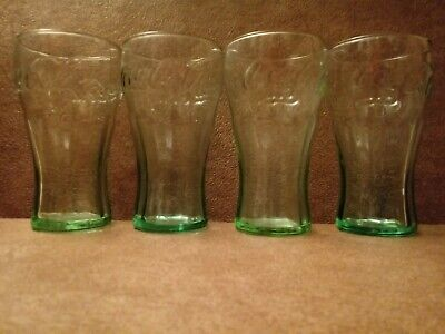 """4 Vintage Coca-Cola Glass Miniature Drinking Cup Coke Green Tinted 4 1/2"""" Juice"""