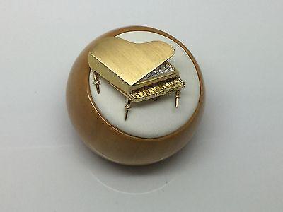 3-D PIANO BROOCH IN 18K YELLOW GOLD & DIAMONDS~UNIQUE