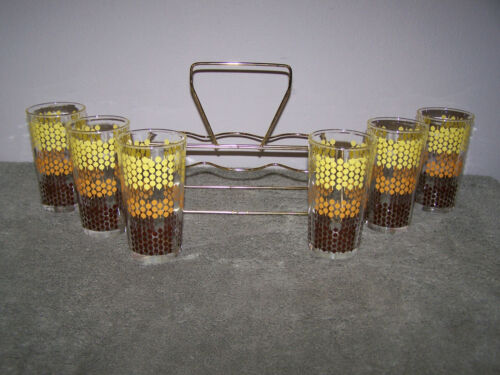 Vintage Polka Dot Drinking Glasses Tumblers W/Caddy Brown Yellow Orange Set Of 6