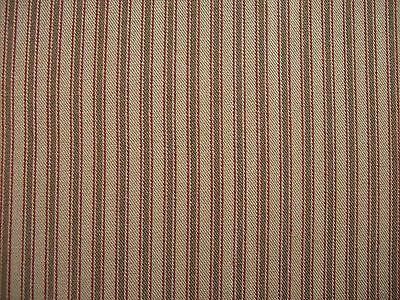 "POTTSVILLE TICKING Cotton Window Tiers 72"" x 36"" Dark Oat, Barn Red"