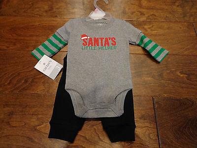 Boy's CARTER'S sz 3 months NWT 2-piece Santa's helper outfit gray, green, - Black Santa Outfit