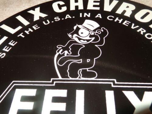 "VINTAGE 1958 ""FELIX THE CAT CHEVROLET"" 11 3/4"" PORCELAIN METAL GASOLINE OIL SIGN"