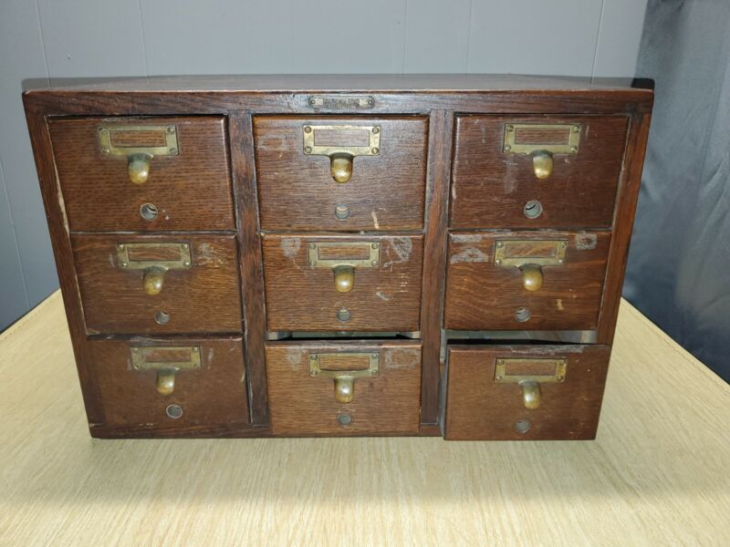Remington Rand 9 Drawer Library Card Catalog Oak Vintage Cabinet