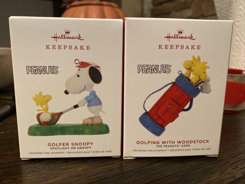 2 NEW Hallmark Keepsake Snoopy Peanuts Golfing w Woodstock Christmas Ornaments