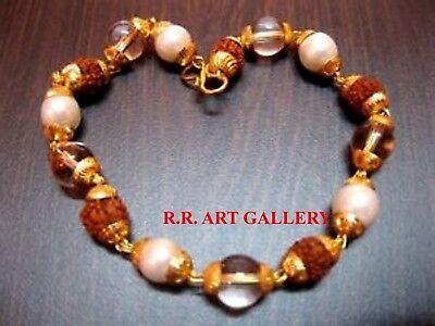 10 Pieces Lot Rudraksha Rudraksh Pearl Sphatik Combination Golden Cap Bracelet