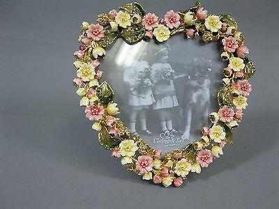 Luxus Bilderrahmen  aus Hartzinn  Blüten Herz 15cm  350 Gramm schwer