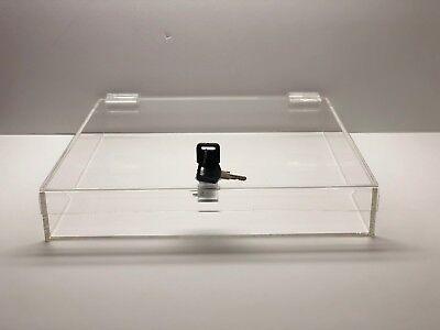 Acrylic Square Countertop Display Case Lock Box 18 X 18 X 4 Box Display