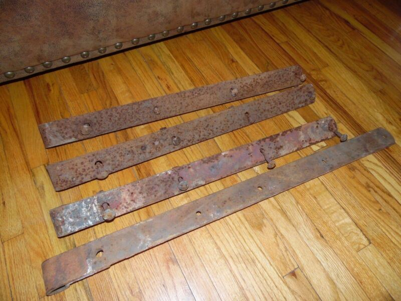 """4 LARGE ANTIQUE BARN DOOR IRON STRAP HINGES  31"""" & 25""""  ~~FREE SHIPPING~~"""