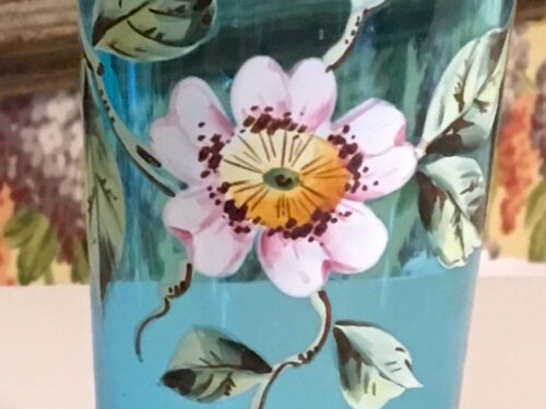 Antique French Aqua Decorative Drinking Glass Enamel Painted Flowers Small 5""