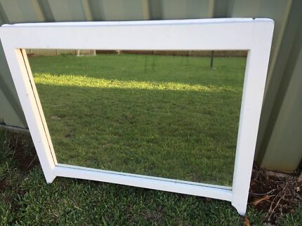 White timber frame hanging mirror Wilsonton Toowoomba City Preview