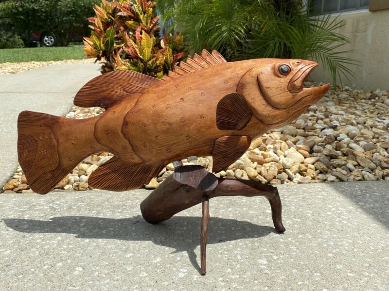 GROUPER  ON ROOT  HAND CARVED WOOD ART HOME DECOR FISH TIKI BAR SALTWATER