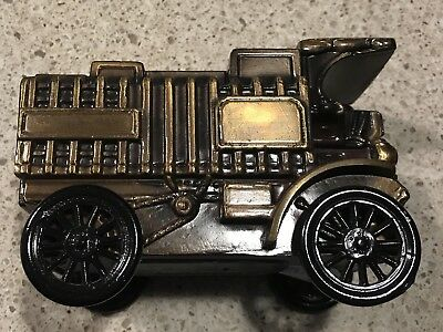 Vintage Banthrico Estes Park Bank Bronze 1906 Mack Truck Brass Coin Bank Antique