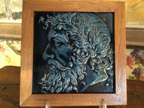 Lovely Ancient History Figure Framed Blue Tile 2