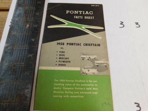 1958 PONTIAC FACTS DIGEST    DEALER USE ORIGINAL II
