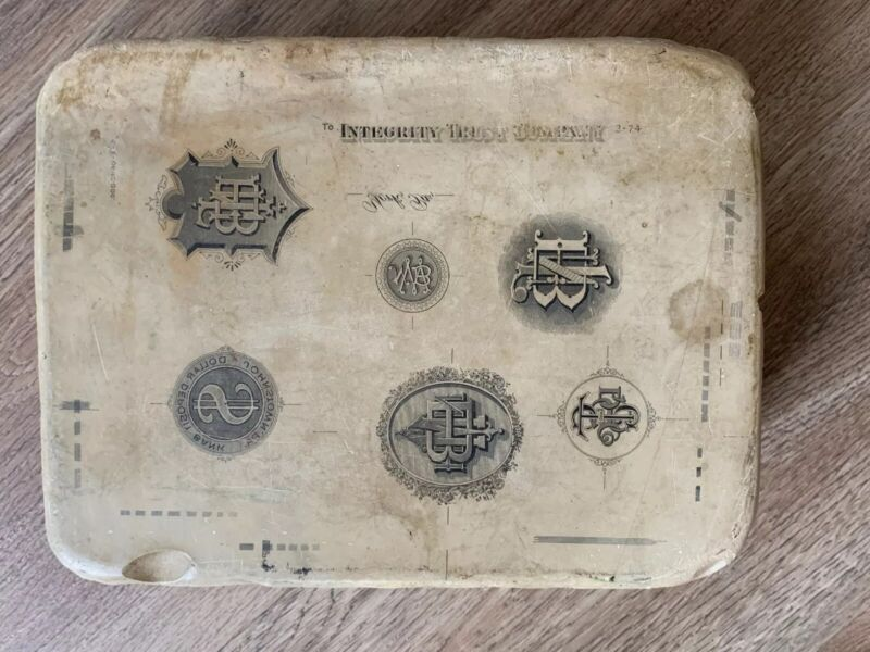 Vintage Bank Litho Lithographic Antique Collectable Printing Stone Block