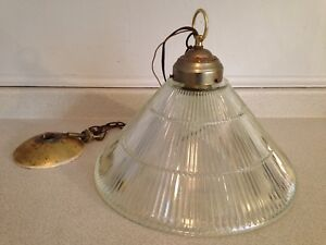 Vintage Mid Century Cone Shaped Ribbed Glass Ceiling Light
