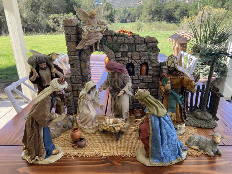 "RARE VTG CHRISTMAS NATIVITY SET 12"" SCALE FIGURES MANGER CRECHE KIRKLAND #224379"