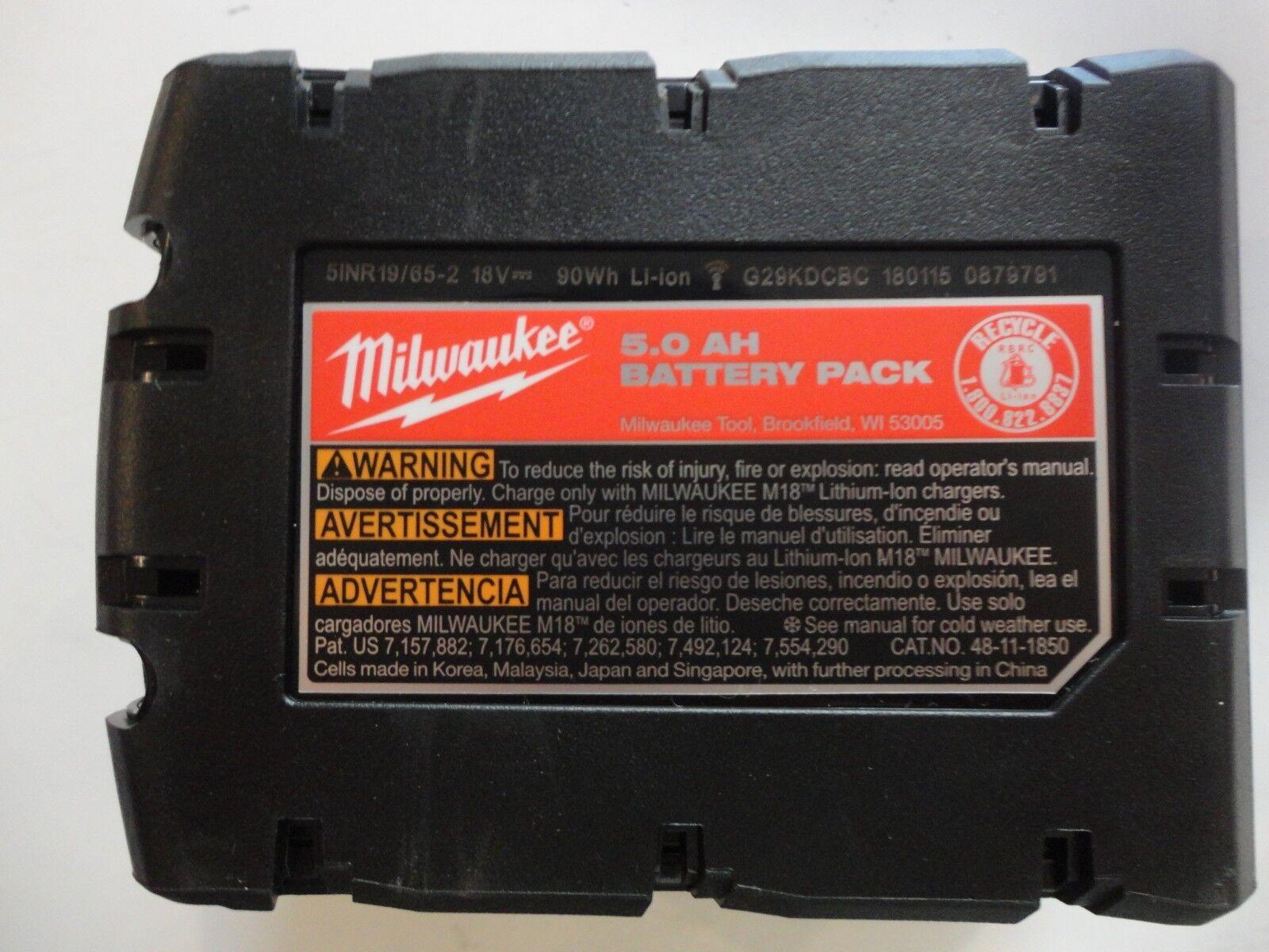 (2) MILWAUKEE 18V 18 Volt L i- Ion 48-11-1850 XC 5.0 AH Battery packs 48-11-1852 7