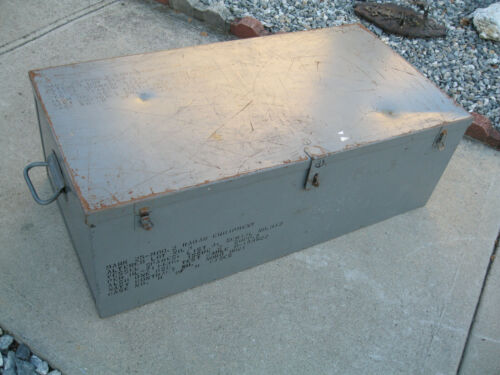 Vintage Navy  Metal large storage military government industrial trunk chest