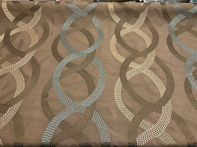 Wave Links Spa Blue Embroidered Faux Silk Polyester Drapery Fabric by the yard Embroidered Silk Polyester
