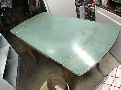 Vintage Formica Top Expandable Table 50s - 60s Mid Century Green W/ Drawer - 50s Table