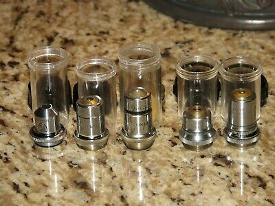 Lot Of 5 Microscope Objective Lenses Spencer Bausch Lomb