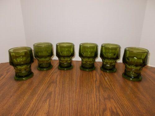 6 Vintage MCM Avocado Green Drinking Glasses - Great Shape