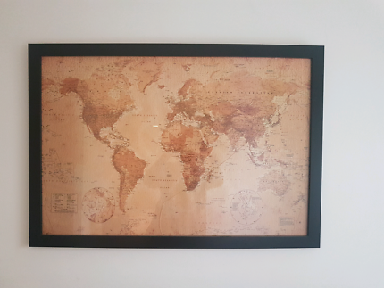 World map canvas art gumtree australia greater dandenong noble framed world map gumiabroncs Gallery