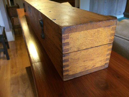 ANTIQUE OAK DOVETAILED BOX US NAVY KOLLMORGEN SPYGLASS, CASE ONLY NAVAL HISTORY