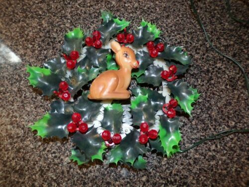 VTG Christmas Wreath Lighted With Rudolph Works