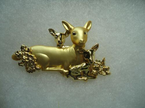 Danecraft vintage/nos gold tone Deer & Fawns pin