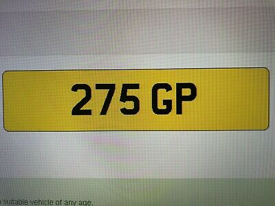 275 GP  CHERISHED PRIVATE NUMBER PLATE DVLA REG GRAND PRIX