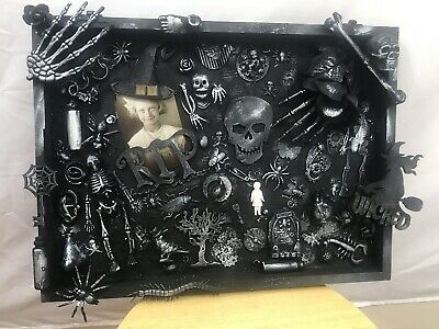 Mixed media Halloween shadowbox assembledge art one of a kind found objects