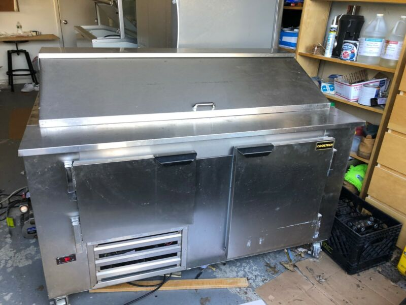 COOL TECH STAINLESS 2 DOOR 60  inch  SANDWHICH PREP WITH TRAYS