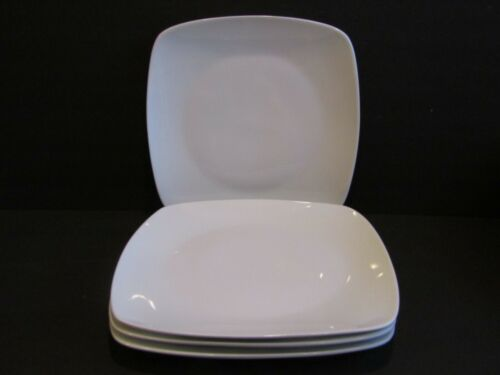 CORDON BLEU Epoch Set of 4 White SQUARE Coupe DINNER PLATES 10.25""