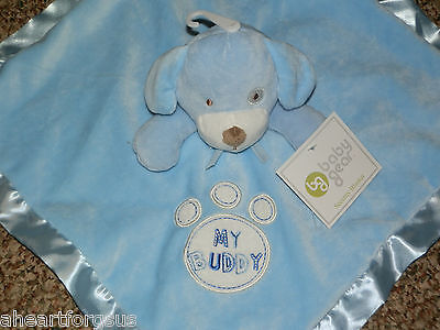 SECURITY BLANKET BABY GEAR BLUE PUPPY DOG MY BUDDY EMBROIDERED PAW PRINT SOFT
