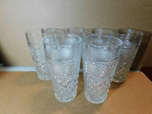 Glasses~Anchor Hocking Wexford Clear Diamond Cut Tumbler 16 oz. Set of 6
