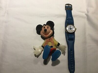 Vintage Donald Duck Watch 1950's & Mickey Mouse Figurine