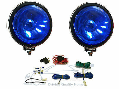 """2 X BLUE Lens, 4"""" Chrome / Silver Twin Spot Lamps Lights for Car + Wiring Kit"""