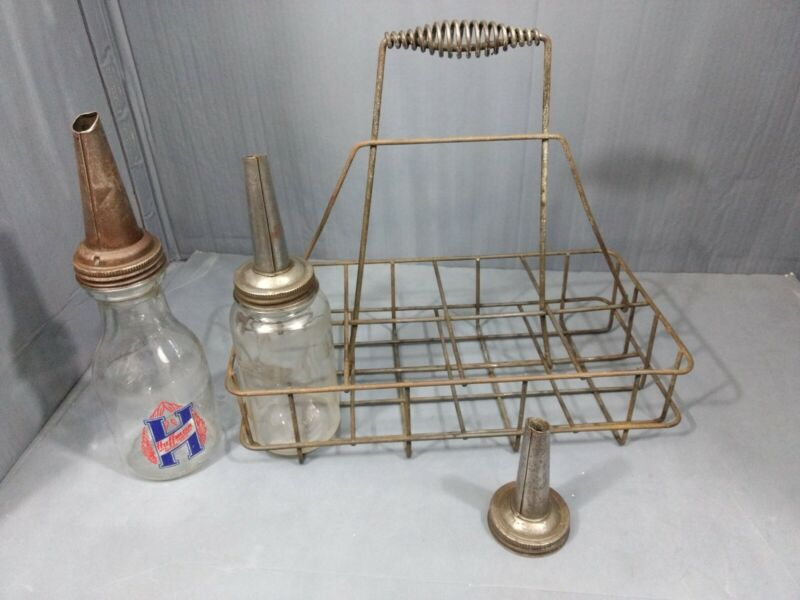Antique Metal Oil Bottle Carrier With 2 Glass Quarts and extra spout