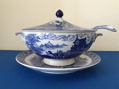 Cauldon Chariots serving dish, lid, ladle and stand blue transfer circa 1930's