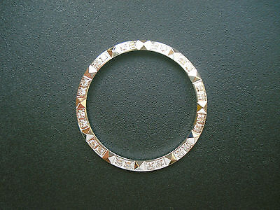 WHITE BEZEL WITH CZ RHINESTONES AND PYRAMIDS FOR 36MM ROLEX DATEJUST OR DAY-DATE