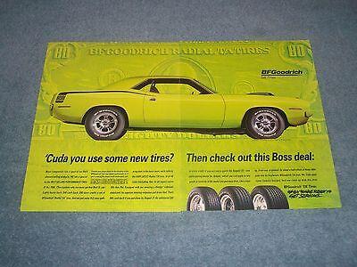 1995 BFGoodrich Tires Vintage Ad with 1970 Plymouth Hemi Cuda