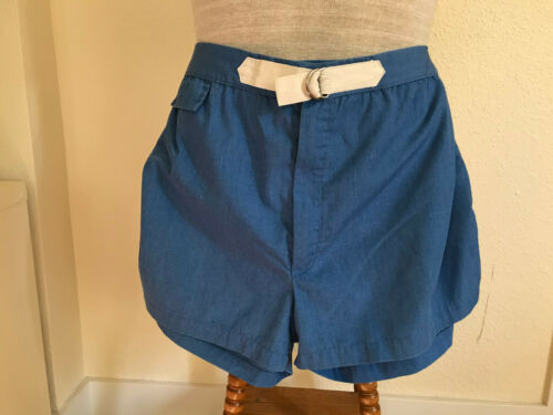 VTG 60s blue w/white side stripe mens swim shorts unders/ inside pocket waist 42