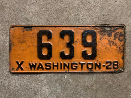 1928 Washington license plate 639 DMV YOM clear Ford Model A low number