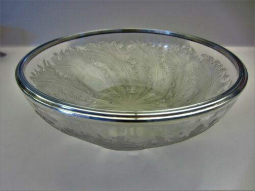 ART DECO RENE LALIQUE CRYSTAL CHICOREE BOWL, 1921 W/APPLIED STERLING SILVER EDGE