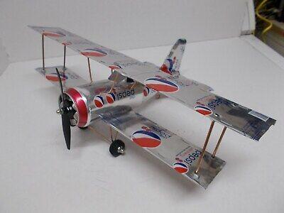 Aluminum soda can handcrafted airplane/ DIET PEPSI-WILD CHERRY (BI-PLANE)