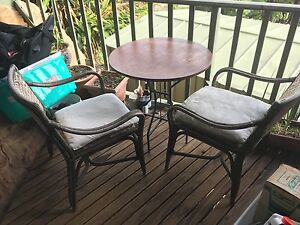 Small Balkony setting table chairs wooden rattan Narrabeen Manly Area Preview